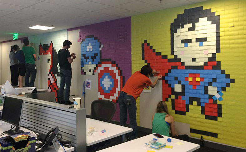 Creative Agency Staff Installs Superhero Murals On Their Office Walls