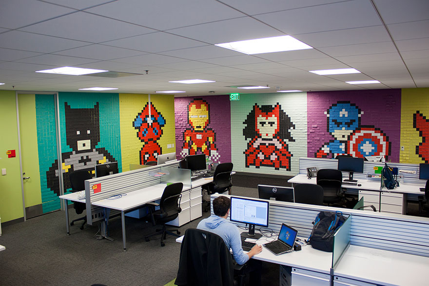 creative agency office. Office-wall-post-it-art-superheroes-ben-brucker- Creative Agency Office