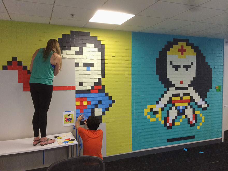 office-wall-post-it-art-superheroes-ben-brucker-9