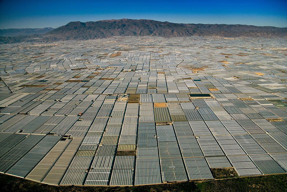 A landscape of greenhouses in Almeria, Spain.