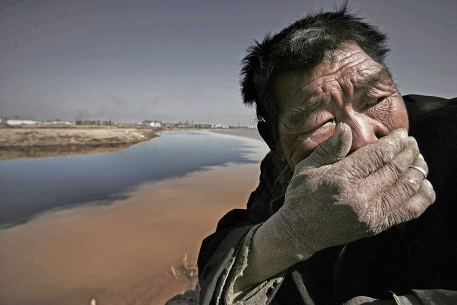 The Yellow river in Mongolia is so polluted that breathing is almost impossible.