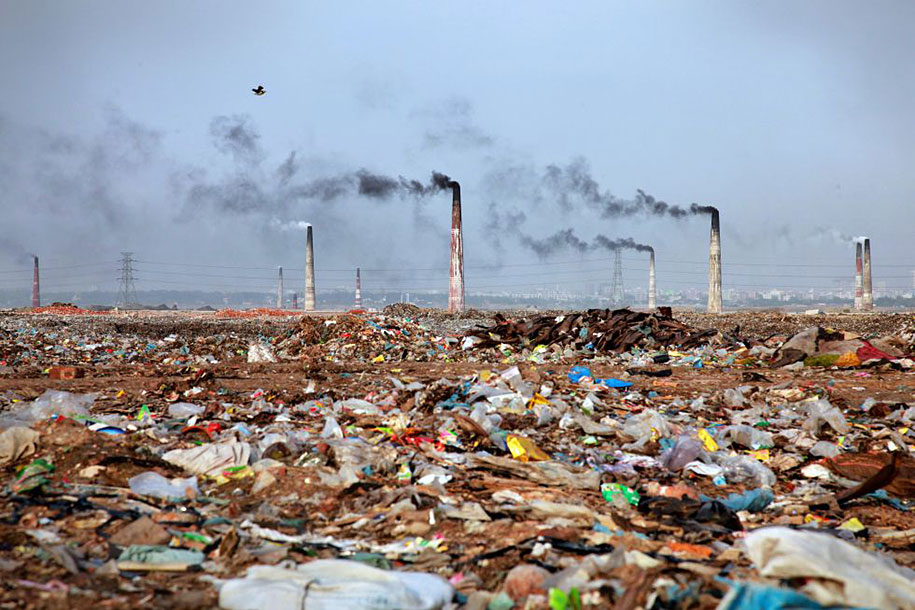 Landscape full of trash in Bangladesh.