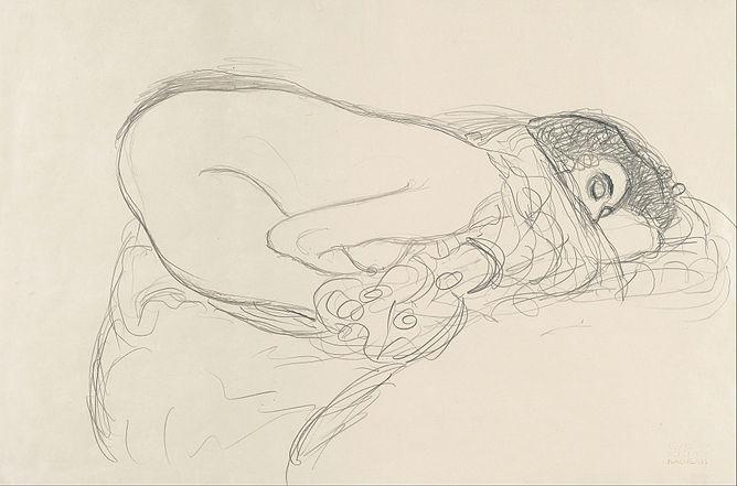 Gustav_Klimt_-_Semi-Nude_leaning_forward_(Preparatory_Work_for_the_Painting_Leda)_-_Google_Art_Project