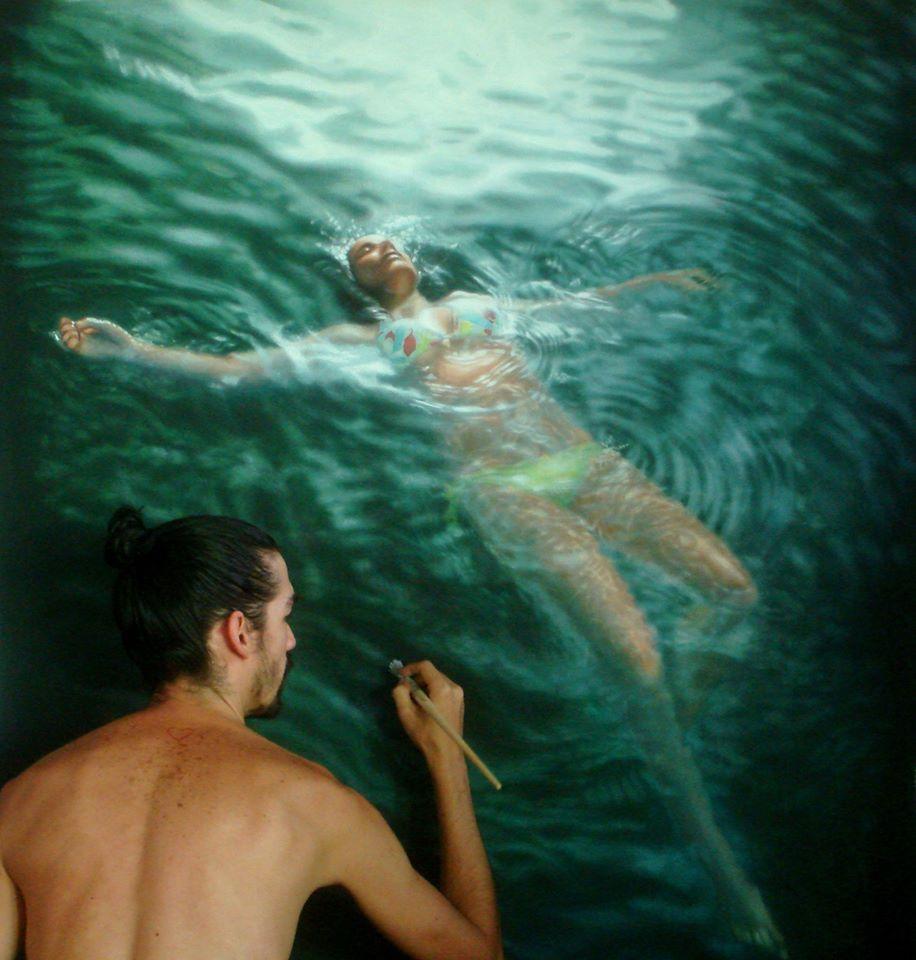 ArtSheep Features Gustavo Silva Nuñez And His Underwater Painted - Hyper realistic paintings nunez