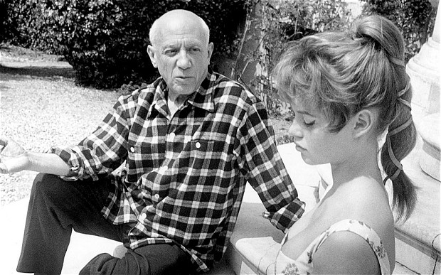 Pablo Picasso with French actress Brigitte Bardot.