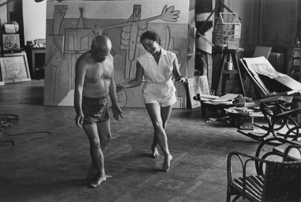 Picasso dancing in his studio with his wife Jacqueline Roque. Photo by David Douglas Duncan