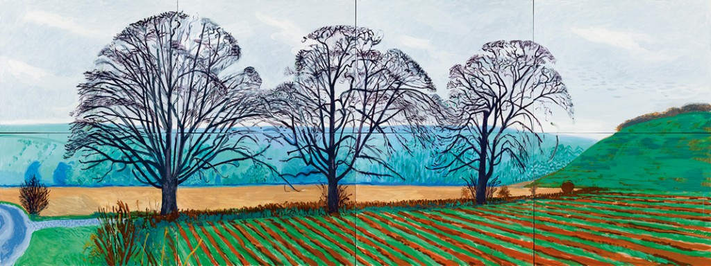 """TREES NEAR THIXENDALE. DECEMBER 2007"" 2007 OIL ON 8 CANVASES (36 X 48"" EA) 72 X 192"" OVERALL © DAVID HOCKNEY PHOTO CREDIT: RICHARD SCHMDIT"