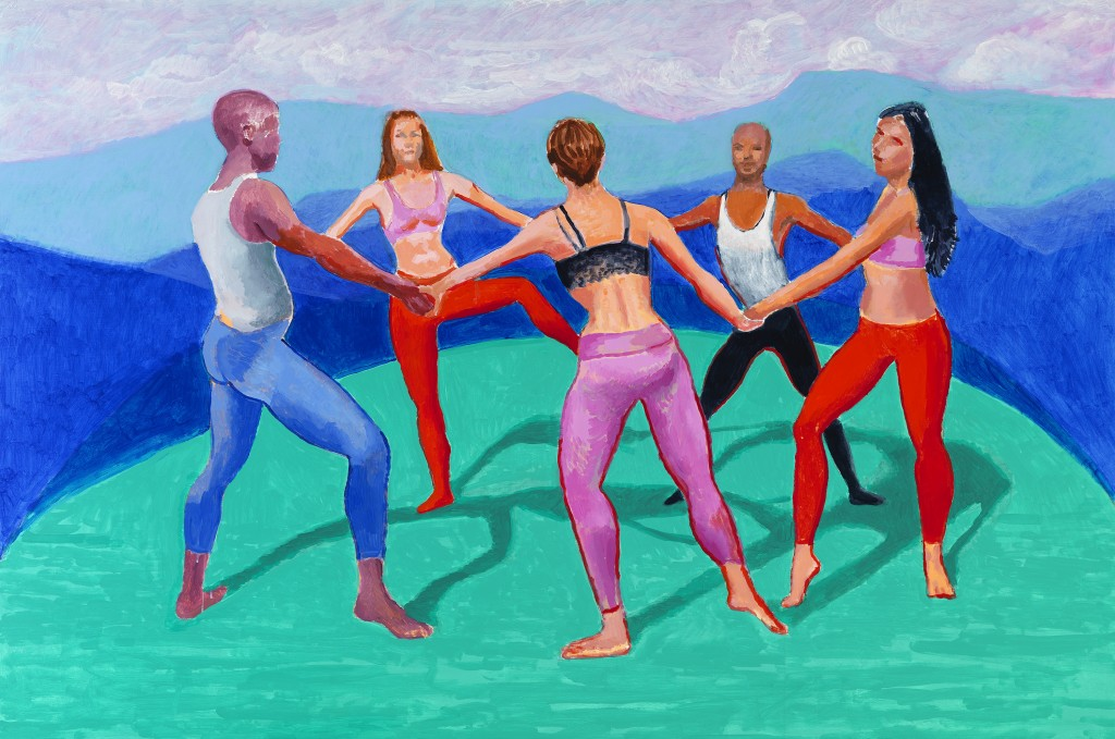 "David Hockney ""Dancers VIII"" 2014 Acrylic on canvas 48 x 72"" © David Hockney Photo Credit: Richard Schmidt"