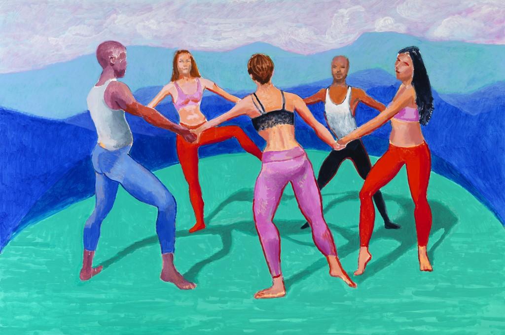 "David Hockney ""Dancers VIII"" 2014 Acrylic on canvas 48 x 72"" © David Hockney Photo Credit: Richard Schmidt"