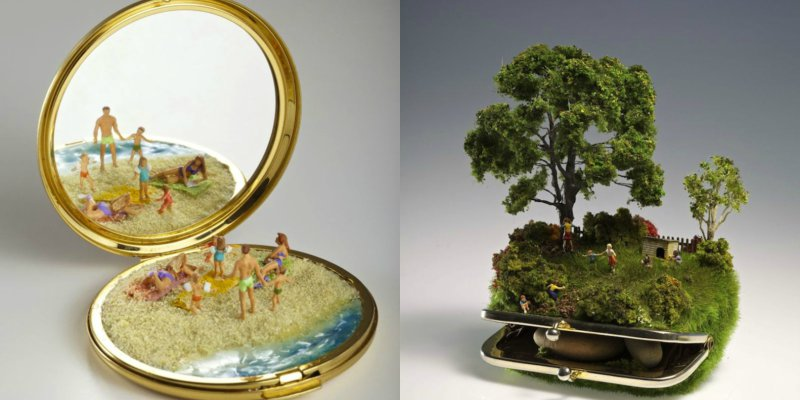 Artist Creates Colorful Miniature Worlds On Everyday Objects Art - Artist creates miniature paintings everyday entire year