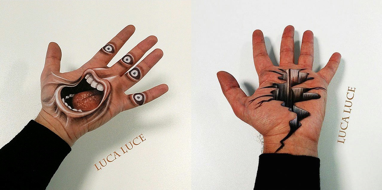 Artist Paints MindBlowing Optical Illusions On The Palm Of His - Mind blowing optical illusion