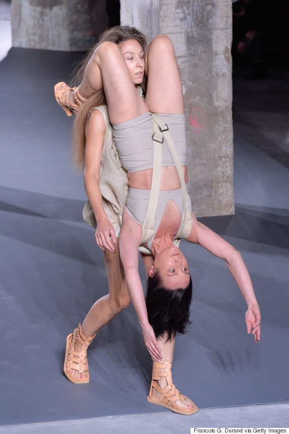 PARIS, FRANCE - OCTOBER 01: Models walks the runway during the Rick Owens show as part of the Paris Fashion Week Womenswear Spring/Summer 2016 on October 1, 2015 in Paris, France. (Photo by Francois G. Durand/WireImage)