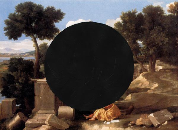 A-Poussin-Landscape---paint-on-found-print---2010---4,5-x-6---002