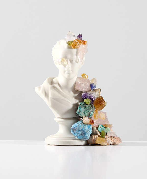 Becoming-Wonderful-Forever---rocks-and-minerals-on-found-ceramic---2014---6-x-4,5-x-3---014