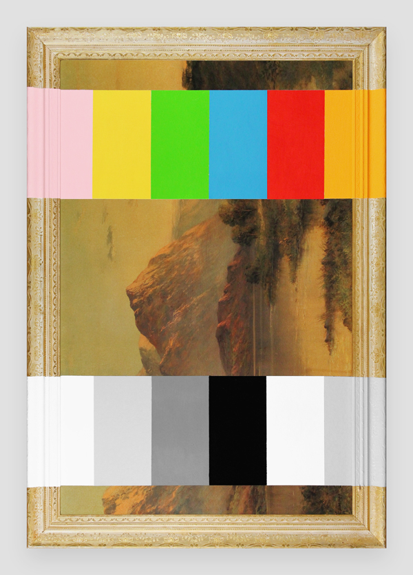 Calibrating-A-Thrift-Store-Landscape---paint-on-found-print-and-frame---2014---26,26-x-38,25-x-1,5---011