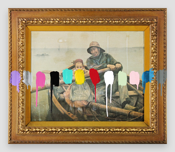 Fisherfolk-With-A-Paint-Test---paint-on-found-print-and-frame---2014---23,25-x-27,25-x-1,5---007