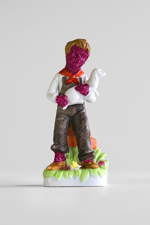 Glitter-Boy,-Glitter-Girl-(Two-Pieces)-(1)---glitter-on-found-ceramics---2010---both-statuettes--6-x-2,5-x-1,75---004