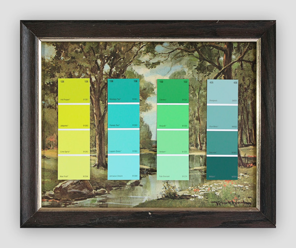 Know-Your-Color-Charts--Winter,-Spring,-Summer,-Autumn-(Four-Panels)-(2)---paint-store-color-samples-on-found-prints---2010---each-panel-13-x-16-x-1---002