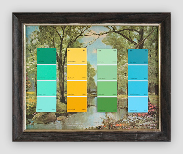 Know-Your-Color-Charts--Winter,-Spring,-Summer,-Autumn-(Four-Panels)-(3)---paint-store-color-samples-on-found-prints---2010---each-panel-13-x-16-x-1---000