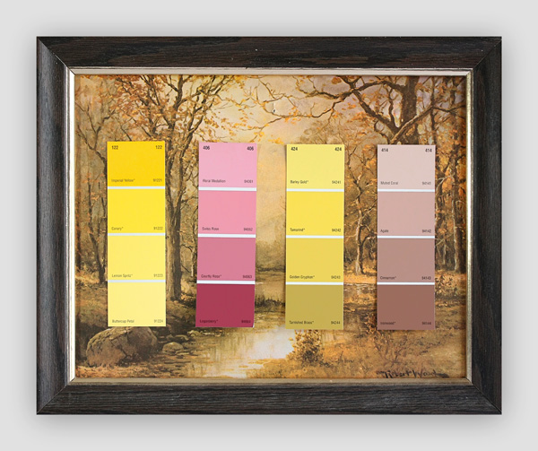 Know-Your-Color-Charts--Winter,-Spring,-Summer,-Autumn-(Four-Panels)-(4)---paint-store-color-samples-on-found-prints---2010---each-panel-13-x-16-x-1---001