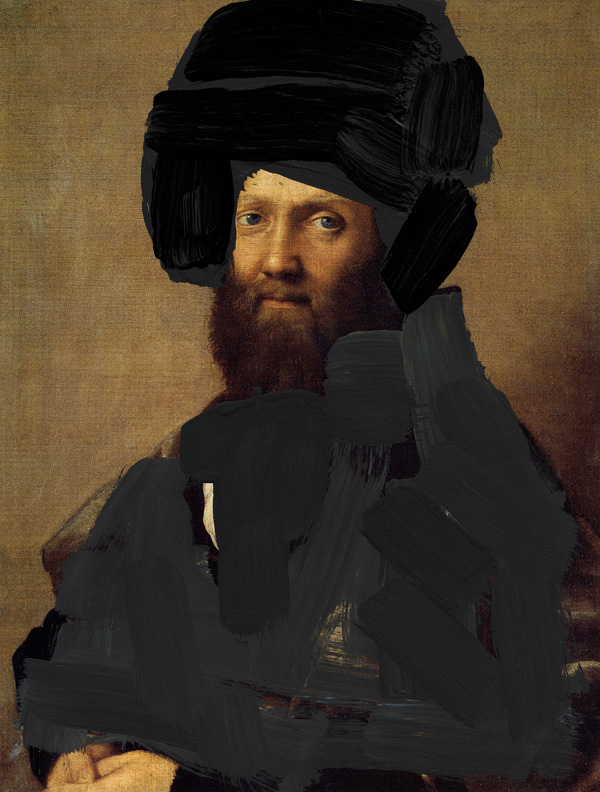 Man-With-A-Turban---paint-on-found-print---2010---8,75-x-6,25---002