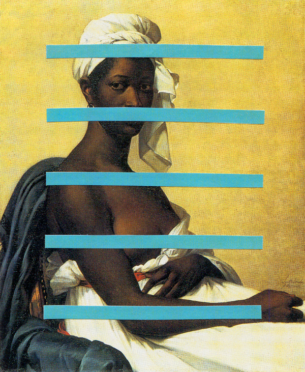 Portrait-Of-A-Negress-With-Bars---collage-on-found-print---2010---4,25-x-3,5---002