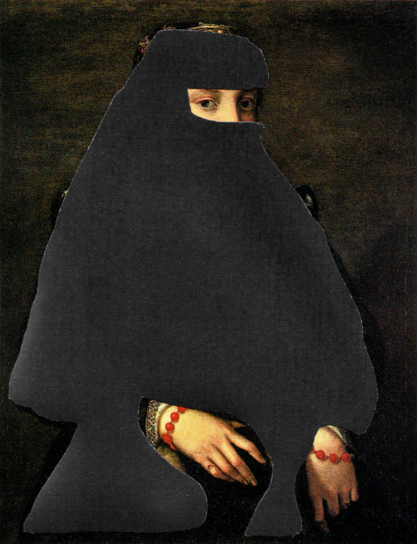 Shrouded-Portrat-Of-A-Woman---collage-on-found-print---2010---4,25-x-3,25---002