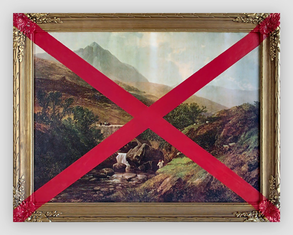 Thrift-Store-Landscape-With-An-X---paint-on-found-canvas-and-frame---2010---21,75-x-27,25-x-1,5---012