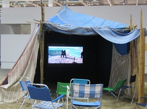 Agnès Varda, The Cabana on the Beach (which is also a projection booth), 2010