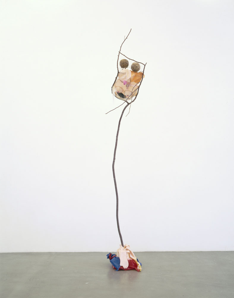 Alexandra Bircken, Dummy, 2012, Umbrella, porn doll, plaster, pigment, Branch, PVA, hair, wood chips, yarn, 325 x 160 x 70 cm