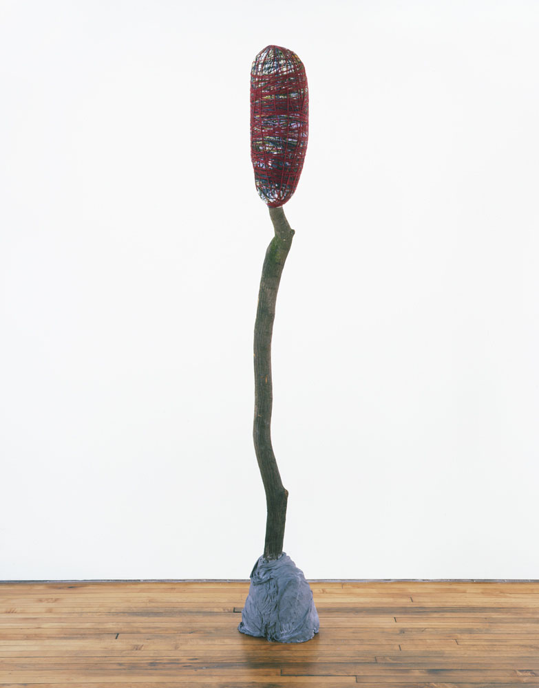 Alexandra Bircken, aHead III, 2011, Wood, cloth, wool, plaster, pigments, 224 x 28 x 29 cm
