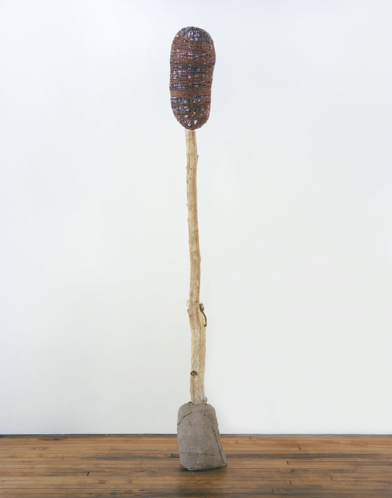 Alexandra Bircken, aHead IV, 2011, Wood, cloth, wool, plaster, pigments, 235 x 26 x 42 cm
