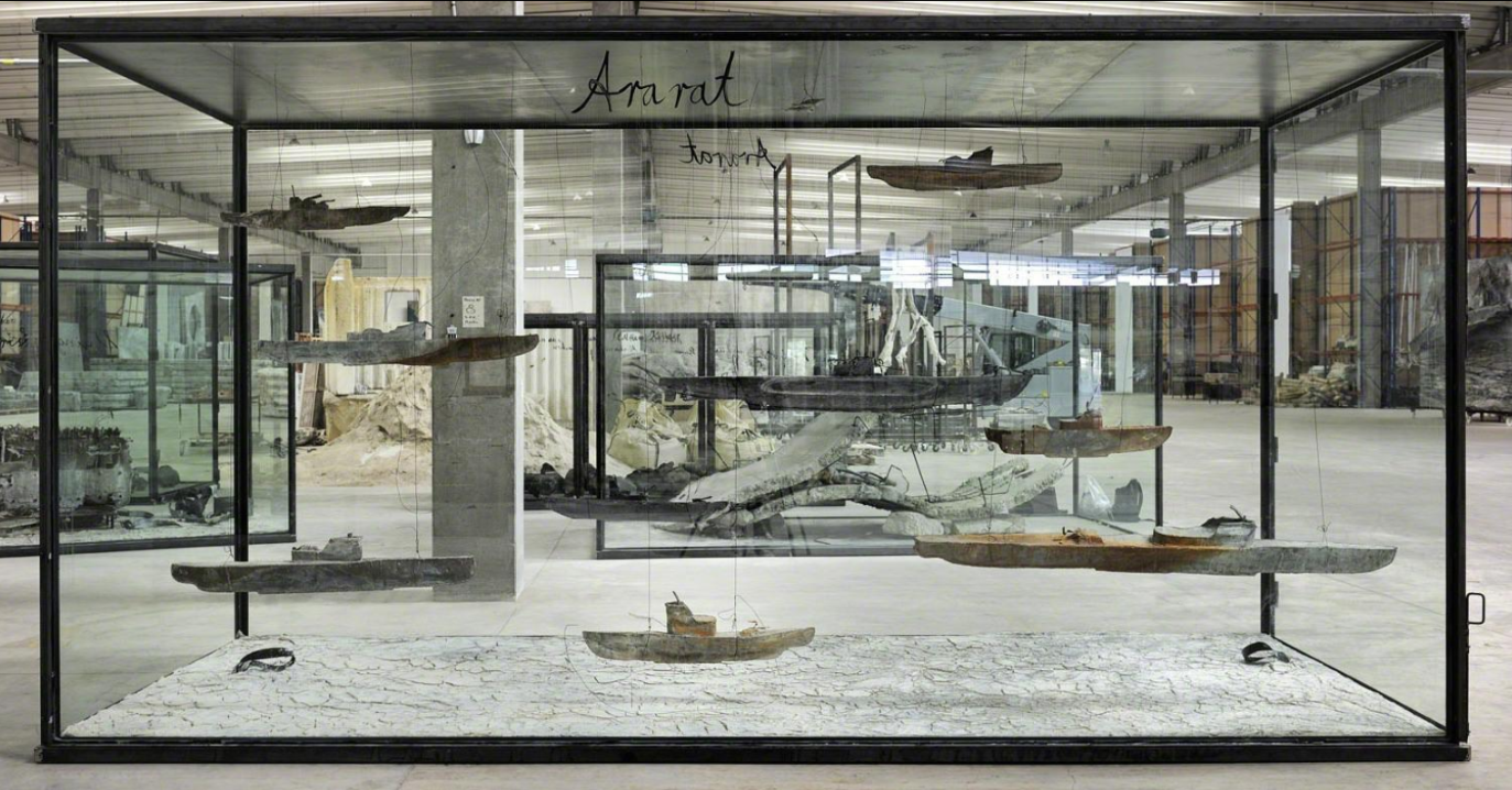 Anselm Kiefer, Ararat, 2010,Nine leads boats, wire and oil, emulsion, acrylic, shellac, clay on canvas in inscribed glass and steel vitrine, 290 x 549,9 x 230,2 cm