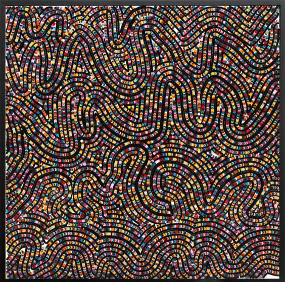 Bharti Kher, Blanket, 2007, bindis on wooden panel,