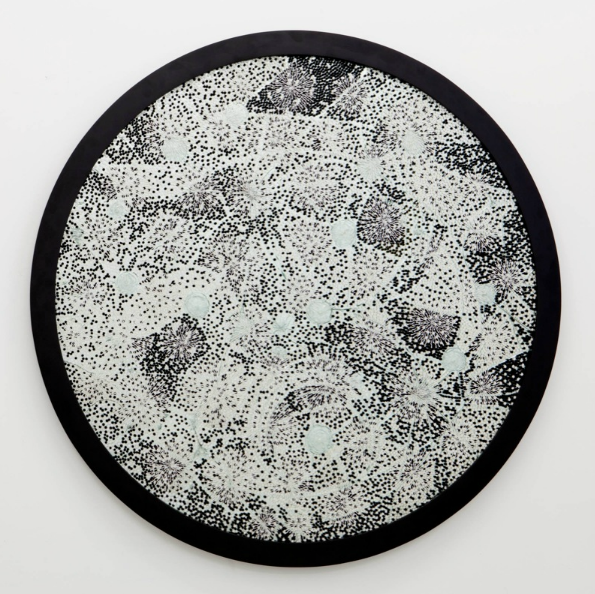 Bharti Kher, Blinding White Light, 2011, bindis on broken mirror, frame; 59 3-4 inches diameter