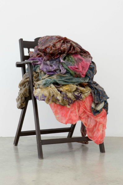Bharti Kher, Dominate, 2011, cotton saris, resin, wooden chair,