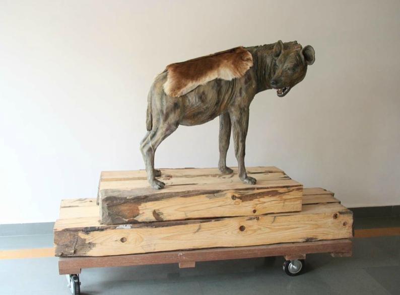 Bharti Kher, Misdemeanors, 2006, fiberglass, bindis, fur,
