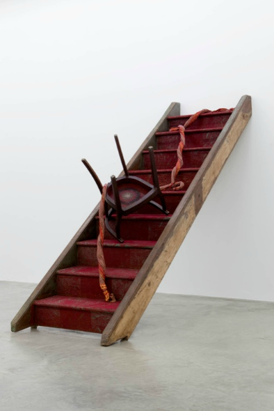 Bharti Kher, The Night She Left, 2011, wooden stairs, fabric, resin, bindis,