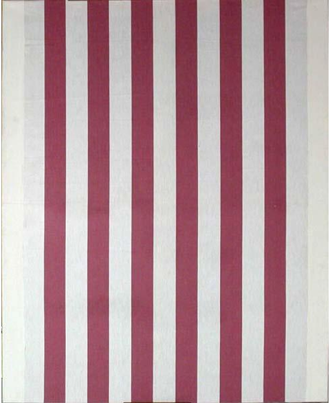 Daniel Buren, Untitled, 1968, white acryclic painting on white and red striped fabric
