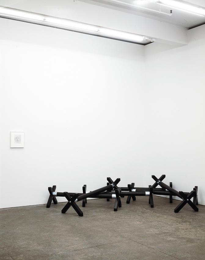 David Lieske, Case Arse (Poesie A Casara), 2005, wooden cavalettis, acrylic, framed d-print