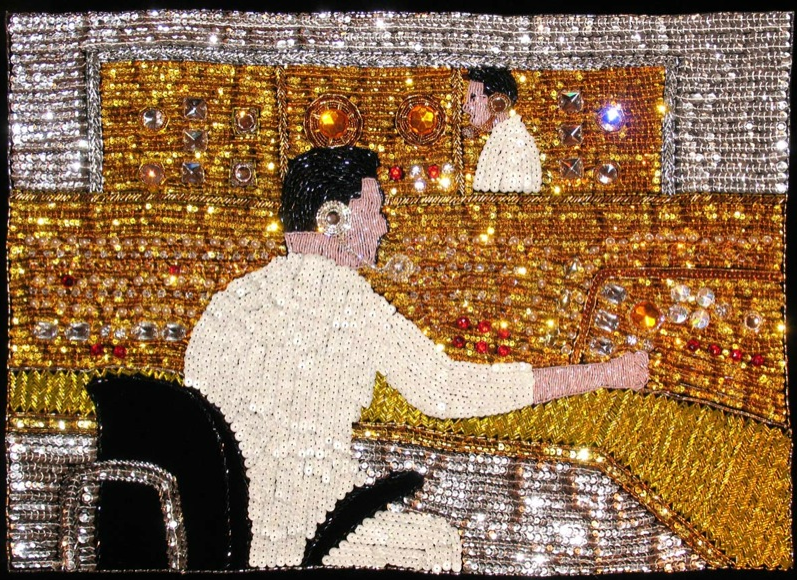 Farhard Moshiri, Control Room, 2004, embroidery on canvas