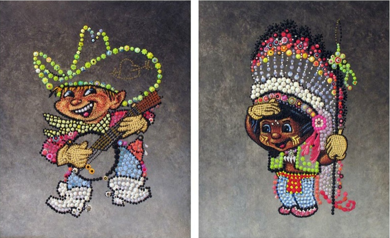 Farhard Moshiri, Cowboy and Indian, 2007, acrylic and glitter on canvas, 160 x 260 cm