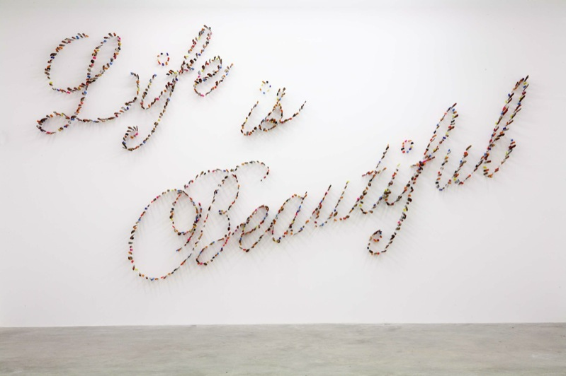Farhard Moshiri, Life is Beautiful, 2009, knives, dimensions according to space