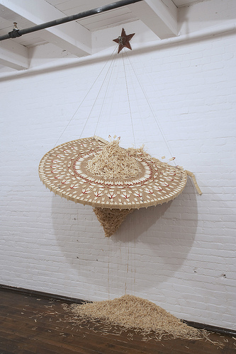 Hema Upadhyay Derelict, 2007. Matchsticks, Glue, Wooden Frame, steel cable.