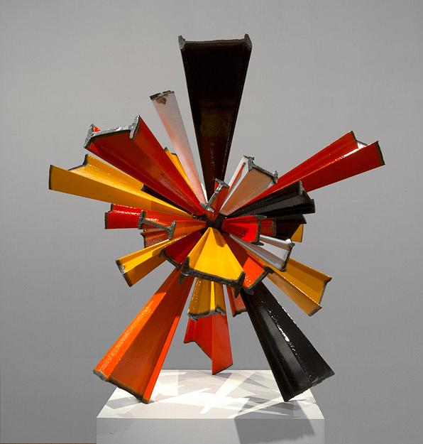 James Angus, I-beam Sunburst, 2012, Steel, enamel paint, 120 x 120 x 120 cm