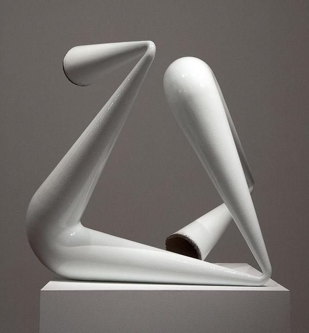 James Angus, White Pipe Compression, 2012, Steel, enamel paint, 83 x 75 x 80 cm