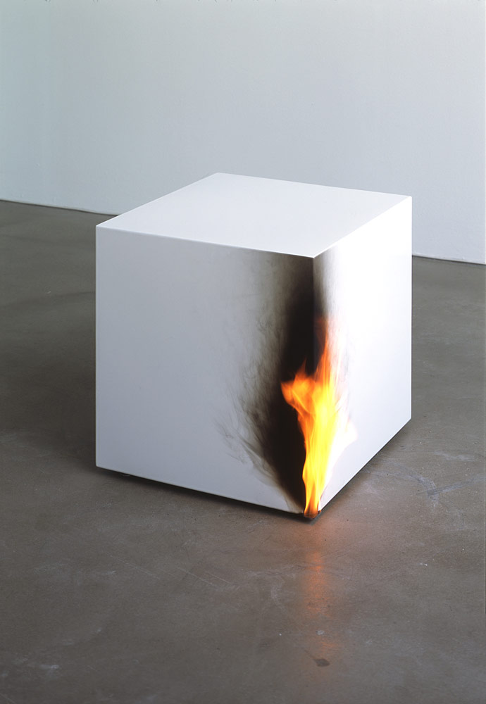 Jeppe Hein, Burning Cube, 2005, metal cube, fire-resistant paint, gas flame, nozzle, 50 x 50 x 50 cm