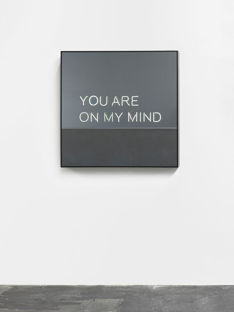 Jeppe Hein, You are on my Mind, 2012, powder-coated aluminium, neon tubes, two-way mirror, powder-coated steel, transformers, 100 x 100 x 10 cm