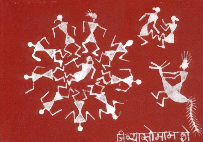Jivya Soma Mashe, Tarpana, 1997, rice pasta and acrylic on paper, 13x18 cm