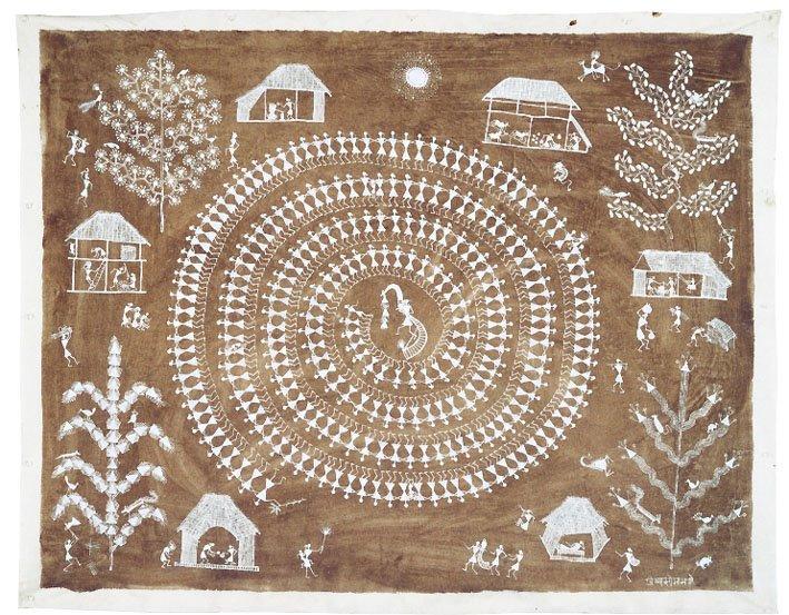 Jivya Soma Mashe, Tarpana, 1998, acrylic and cowdung on canvas, 100x126 cm